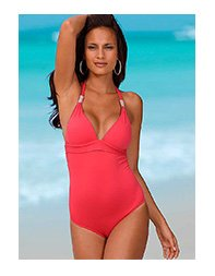 LASCANA Red Halterneck Swimsuit