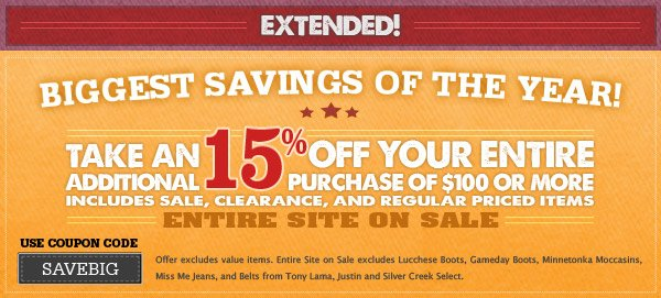 Take an additional 15% Off Your Entire Purchase of $100 or More