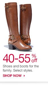 40-55% off Shoes and boots for the family. Select styles. SHOP NOW