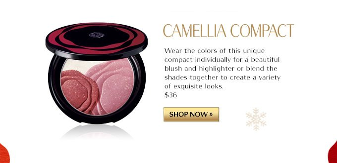 CAMELLIA COMPACT | Wear the colors of this unique compact individually for a beautiful blush and highlighter or blend the shades together to create a variety of exquisite looks. $36 |SHOP NOW »