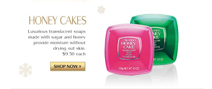HONEY CAKES | Luxurius translucent soaps made with sugar and honey provide moisture without drying out skin. $9.50 each |SHOP NOW »