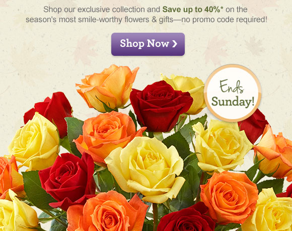 Up to 40% OFF Fall Smile Sale Ends Sunday!  Shop our exclusive collection and Save up to 40%* on the season's most smile-worthy flowers & gifts - no promo code required!  Shop Now