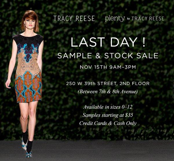 LAST DAY! SAMPLE & STOCK SALE. Nov 15th 9am-3pm.