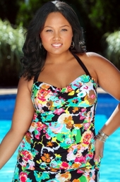 Women's Plus Size Swimwear - 24th & Ocean Separates Fab Floral Swim Top w/ Removable Cups - NO RETURNS