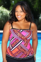 Women's Plus Size Swimwear - 24th & Ocean Separates Bold Move Bandeaukini Top - NO RETURNS