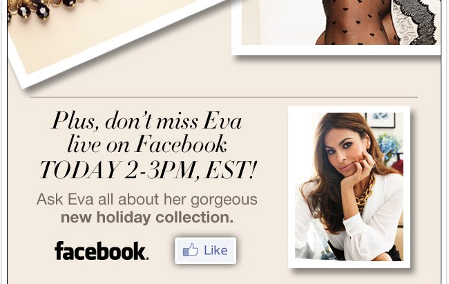 Don't miss Eva live on Facebook Today, 2pm EST!