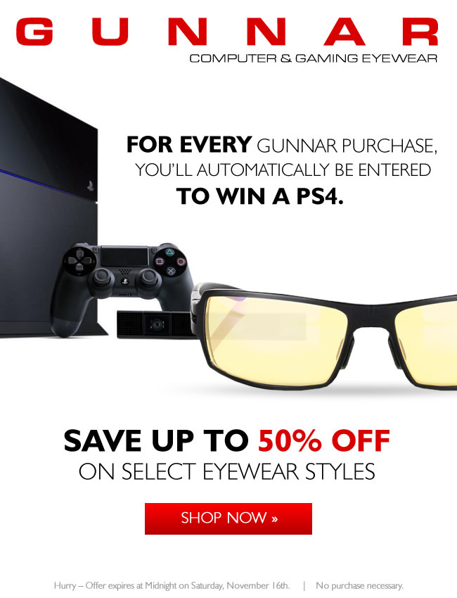 TODAY ONLY - Save 50% on GUNNAR RPG Gaming Eyewear!