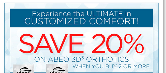 Experience the ultimate in customized comfort and save 20% when you buy two or more styles!* The perfect customized orthotic for all your favorite footwear, enjoy the comfort of balanced weight distribution and increased stability. Find the best selection at The Walking Company.