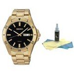 Seiko SGGA86 Men's Special Value Sports Black Dial Gold Plated Steel Bracelet Quartz Watch  with 30ml Ultimate Watch Cleaning Kit