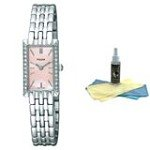 Pulsar PEGE75 Women's Quartz Pink MOP Dial Stainless Steel Watch with 30ml Ultimate Watch Cleaning Kit