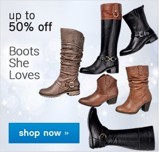 Up to 50% off Women's Boots. Shop now.
