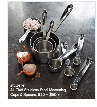 EXCLUSIVE -- All-Clad Stainless-Steel Measuring Cups & Spoons, $20 - $50