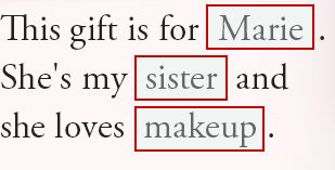 This gift is for Marie. She's mysister and she loves makeup.