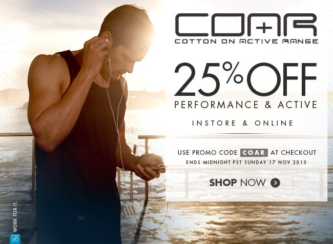 25% Off Performance & Active
