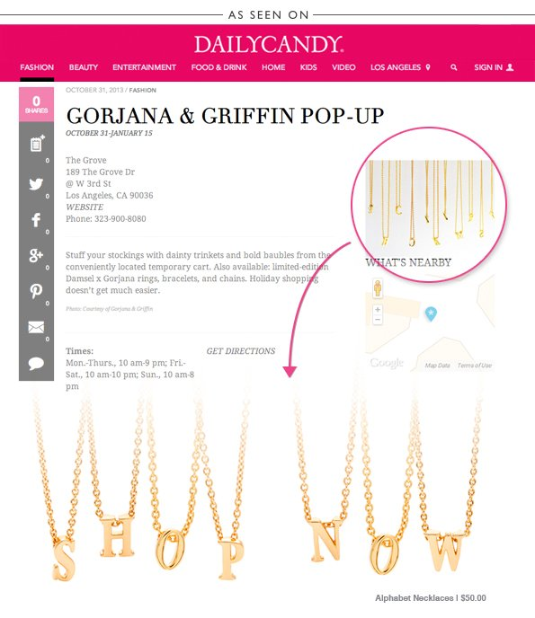 Get Personalized at the gorjana & griffin Pop-Cart at the Grove