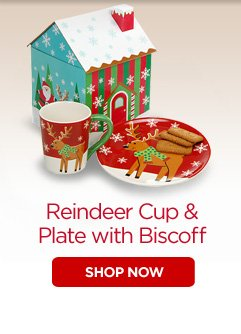 Reindeer Cup & Plate with Biscoff