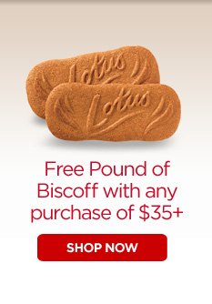 Free Pound of Biscoff with any purchase of $35+