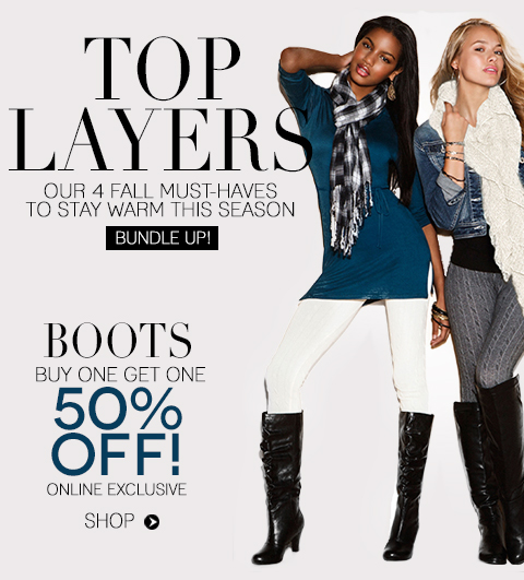 LIMITED TIME ONLY: ALL Boots, Buy 1, Get 1 50% Off! Online Only