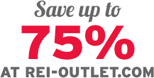 Save up to 75% AT REI-OUTLET.COM
