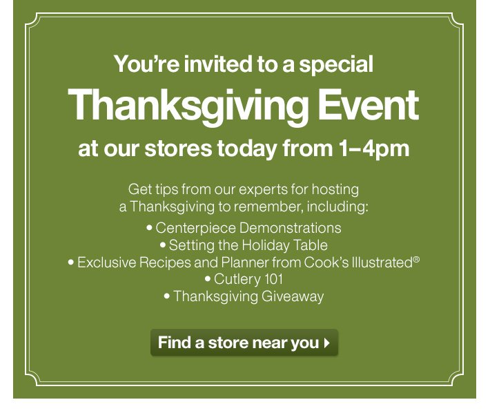 You're invited to a special Thanksgiving  Event