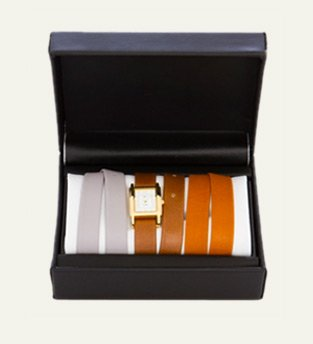 Gold Interchangeable Gift Box: Nude, Mocha, and Tobacco Smooth Straps Watch Set