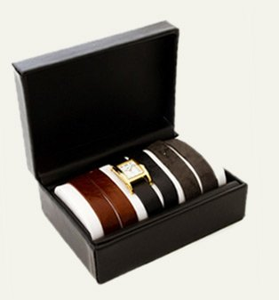 Gold Interchangeable Gift Box: Brown, Black and Washed Grey Straps Watch Set