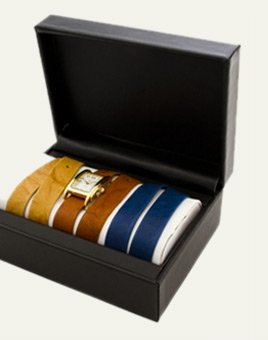 Gold Interchangeable Gift Box: Washed Camel, Tobacco and Royal Blue Straps Watch Set