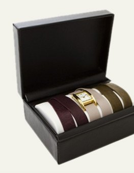 Gold Interchangeable Gift Box: Eggplant, Nude and Army Green Straps Watch Set