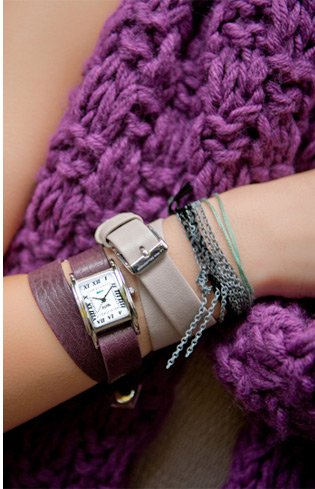 Silver Interchangeable Gift Box: Nude, Eggplant and Sage Straps Watch Set