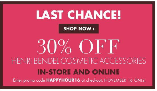30% OFF HENRI BENDEL COSMETIC ACCESSORIES