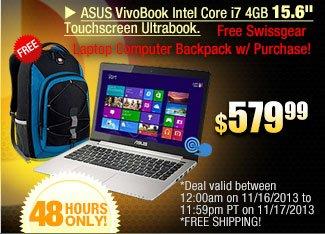 "ASUS VivoBook Intel Core i7 4GB 15.6"" Touchscreen Ultrabook"