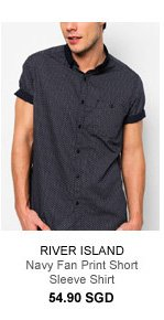 River Island Navy Short Sleeve Shirt