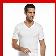 Model wearing v-neck shirt