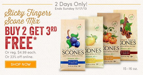 2 Days Only: Sticky Fingers Scone Mix - Buy 2, Get 3rd Free (Ends Sunday 11/17)