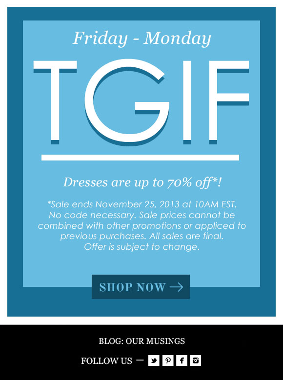 TGIF: Up to 70% Off!