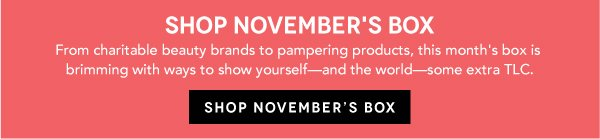 Shop November's Box: From charitable beauty brands to pampering products, this month's box is brimming with ways to show yourself- and the world- some extra TLC