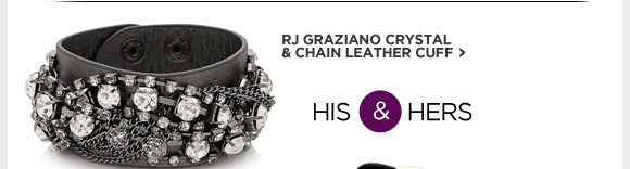 RJ GRAZIANO CRYSTAL & CHAIN LEATHER CUFF