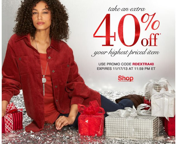 Take an Extra 40% off your highest priced item! Use RD40EXTRA40!