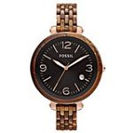 Fossil JR1408 Women's Heather Dark Black Dial Rose Gold Steel Plastic Bracelet Watch