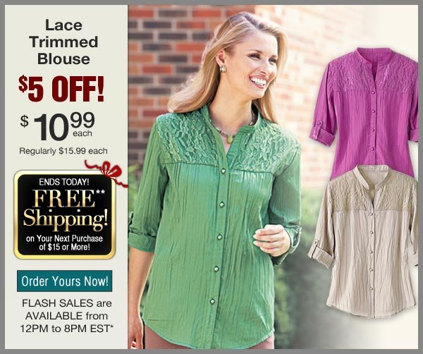 $5 OFF Lace Trimmed Blouse