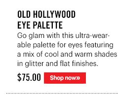 Old Hollywood Eye Palette, $75 Go glam with this ultra-wearable palette for eyes featuring a mix of cool and warm shades in glitter and flat finishes.Shop Now.