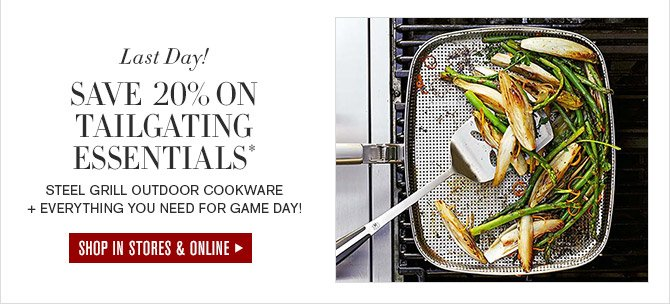 Last Day! -- SAVE 20% ON TAILGATING ESSENTIALS* -- STEEL GRILL OUTDOOR COOKWARE + EVERYTHING YOU NEED FOR GAME DAY! -- SHOP IN STORES & ONLINE