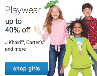 Playwear up to 40% off. Shop girls.
