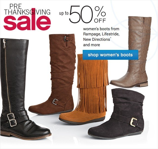 Pre-Thanksgiving Sale. Up to 50% off women's boots. Shop women's boots.