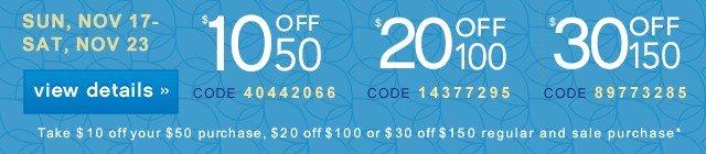 $10/$20/$30 off. Get coupon.