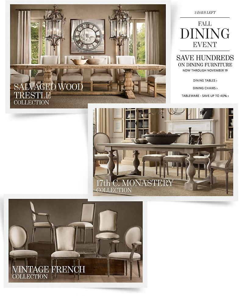 3 Days Left - Fall Dining Event - Save Hundreds on Dining Furniture. Save up to 40% on Tableware.