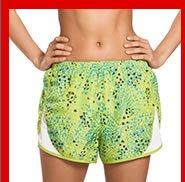 Model wearing running shorts