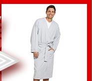Model wearing bathrobe
