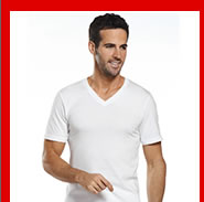 Model wearing v-neck shirt