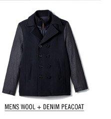 Mens Wool + Denim Peacoat